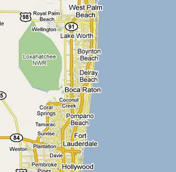 How far is Boca Raton from Miami Beach - driving distance